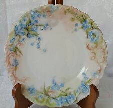 T&V LIMOGES FRANCE HAND PAINTED PORCELAIN PLATE FORGET ME NOT ANTIQUE