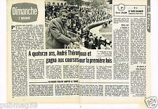 Coupure de presse Clipping 1975 (2 pages) André Théron le Tiercé en direct