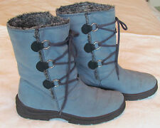 Rohde Ladies Powder Blue Sympatex Faux Fur Lined & Suede Mid Calf Boots Size 8