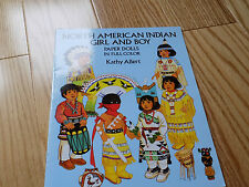North American Indian Girl and Boy Paper Dolls Paperdolls uncut