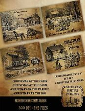 Primitive Early Days Christmas Farm Cabin Prairie Inn Labels Set of 4 • #16112