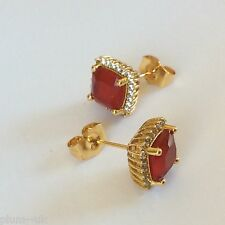 Y52 Ruby & sim diamond 11mm square stud earrings 18k YELLOW GOLD GF Plum UK BOXD
