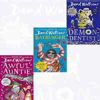 Awful Auntie,Ratburger,Demon Dentist Collection 3 Books Set David Walliams NEW
