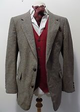 VINTAGE mens TROJAN BROWN PRINCE OF WALES WOOL TWEED SPORTS  JACKET BLAZER 44