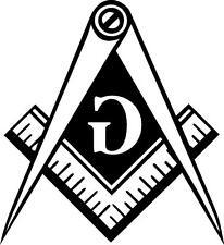 WHITE Vinyl Decal Masonic Emblem Mason  flipped