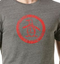 ORIGINAL PENGUIN 'TRI-BLEND / DISTRESSED LOGO' TEE Heather Grey/Red T-SHIRT - S