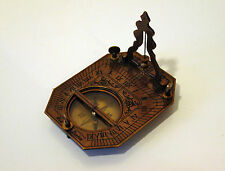 Antique Ships Nautical Brass / Bronze Folding Sundial & Compass - Working Order