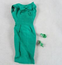 Barbie Emerald Green Silk Sheath Dress Shoes Heels Complete Vintage 1960s