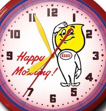 """Classic Esso Happy Motoring Neon Clock Hand Made In USA 20"""" ExxonMobile Oil Gas"""
