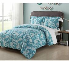 Home Bedroom turquoise-floral Microfiber Sleeping Comforter Set Full/Queen Blue