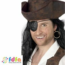 Black pirate eyepatch & or boucle d'oreille set costume robe fantaisie homme accessoire