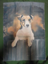 "Jack Russell Terrier on Fence Dog Garden Flag ~12""x16"""