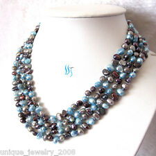 """74"""" 5-6mm Multi Color Baroque Freshwater Pearl Necklace Blue Gray Peacock Strand"""