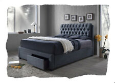 Laura Grey Fabric Upholstered QUEEN Size Bed with Storage Drawers - BRAND NEW