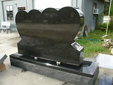 Headstone Granite - Double Heart Grave Marker with Base -Tombstone