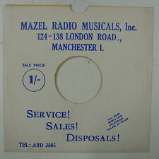 "78rpm 10"" card gramophone record sleeve / cover MAZELS RADIO MANCHESTER blue/whi"