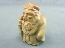 OK660 Japanese Kokeshi Doll Hand made Ceramic Old Man Walking Stick Vtg Ornament