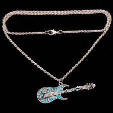 Fashion Silver plated Blue Crystal Guitar Pendant long Chain Necklace Jewelry