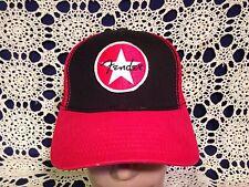 Fender Brand Red and Black Mesh Trucker Snapback Hat Cap