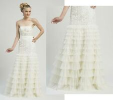 SUE WONG GOWN RUFFLE TIERED SKIRT BEADED WHITE WEDDING DRESS STRAPLESS sz 4