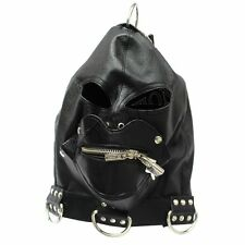 ZIPPER Mouth Gag PU Leather Full Gimp Open Eyes Hood Mask Padded Locking Costume