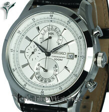 Mens SEIKO SPORTS SILVER FACE CHRONO WITH LEATHER BUCKLE STRAP SPC163P2