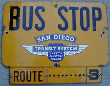 Old Original Porcelain Sign Bus Stop San Diego California 1930's Very Rare