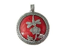 Bali Red Coral Dragonfly Round  Pendant  925 Silver