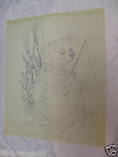 """WOOD CARVING PATTERN 17""""X14"""" CHIP RELIEF BURNING FISHING BEAR"""