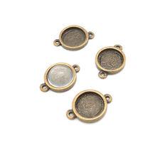 5 Connecteurs supports bronze pour cabochon de 12mm