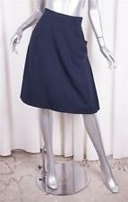 CHANEL BOUTIQUE Womens Classic Dark Navy Blue Wool A-Line Skirt 36/4 S POCKETS!!