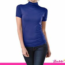 Seamless Short Sleeve Mock Neck Turtleneck Shirt XS-L