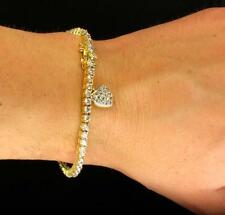 AAA CZ Heart Lady's Tennis Bracelet Gold Tone Solitaire Cut Prong Set Bling 7.5""
