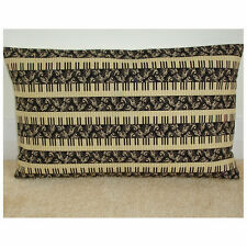 "20""x12"" Oblong Bolster Cushion Cover Piano Keyboard Black Cream Music Musical"