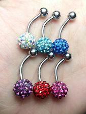 Crystal belly button rings mix color 9mm crystal balls 6pieces / 1 Set