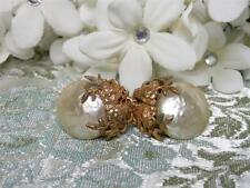 Classic Miriam Haskell Baroque Pearl Cabochon & Gold Leaf Floral Earrings