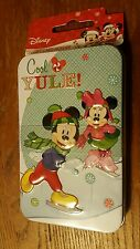 Disney Christmas Gift Card Holder Tin Mickey and Minnie Mouse Cool Yule NEW