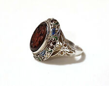 Antique Carved Red Cinnabar Ring Enamel Flower Signed SILVER Sz 6 Chinese Export