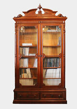 Antique Victorian Walnut Bookcase - Two Tall Glass Doors