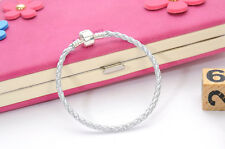 Fashion Silver Leather Bracelet Chain Bangle Fit European Charm Beads Buckle19cm