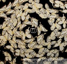 BonEful FABRIC FQ Cotton Quilt Black Cream Gold Butterfly Metallic Glitter Girl
