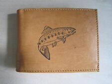 """Mankind Wallets-Men's Leather Billfold with FREE """"Trout/ Fishing"""" Image"""