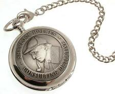 Pocket watch Solid pewter fronted mechanical skeleton - Sherlock Holmes