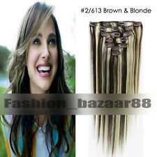 New 15inch Clip in Remy 100% Human Hair Extensions 7Pcs/set #2/613 Brown&Blonde