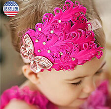 Baby Flower Feather Elastic Hairband Headband Toddler Girls US Stock (Hot Pink)