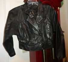 M Ladies Women Byrnes & Baker Leather Panel Jacket Coat Black Snaps Lined Pocket