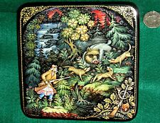 Russian big UNIQUE hand painted Lacquer Box PALEKH WILD BOAR HUNT hunting seen