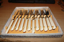 VINTAGE 1960's SET OF 6 FISH KNIVES & 6 FISH FORKS - UNUSED - BOXED GREAT ITEM!!