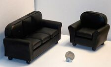 Dollhouse Miniature Leather Black Sofa and Chair 1:12  one inch scale  D37 D39