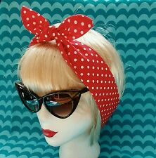 Head Hair Scarf Red White Polka Dot 50s Pin up Headband Retro Dotty Rockabilly